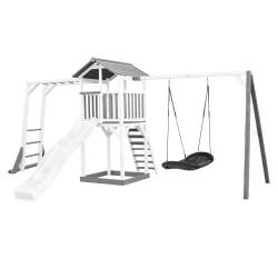 Beach Tower Speeltoren met Klimrek en Roxy NestSchommel Grijs/wit - Witte Glijbaan