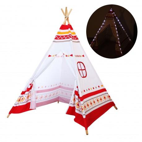 LED Tipi Tent Rood/wit