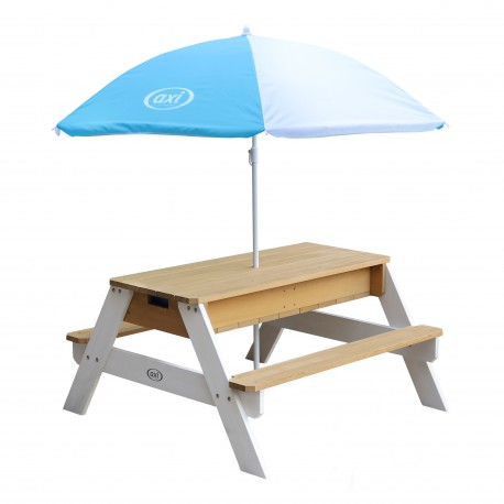 Nick Zand & Water Picknicktafel Bruin/wit - Parasol Blauw/wit