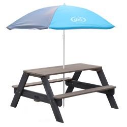 Nick Picknicktafel Antraciet/grijs - Parasol Blauw/grijs