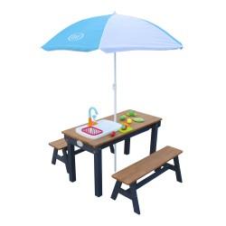 Dennis Zand & Water Picknicktafel met Speelkeuken wastafel en losse bankjes Antraciet/bruin - Parasol Blauw/wit