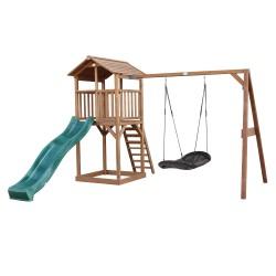 Beach Tower Speeltoren met Roxy Nestschommel Bruin - Groene Glijbaan