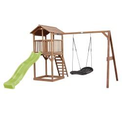 Beach Tower Speeltoren met Roxy Nestschommel Bruin - Limoen groene Glijbaan