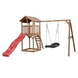 Beach Tower Speeltoren met Roxy Nestschommel Bruin - Rode Glijbaan