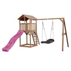 Beach Tower Speeltoren met Roxy Nestschommel Bruin - Paarse Glijbaan