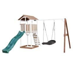 Beach Tower Speeltoren met Roxy Nestschommel Bruin/wit - Groene Glijbaan