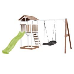 Beach Tower Speeltoren met Roxy Nestschommel Bruin/wit - Limoen groene Glijbaan