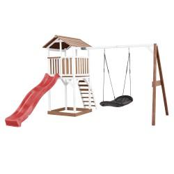 Beach Tower Speeltoren met Roxy Nestschommel Bruin/wit - Rode Glijbaan