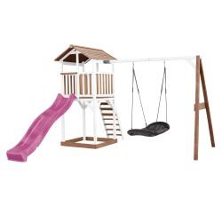 Beach Tower Speeltoren met Roxy Nestschommel Bruin/wit - Paarse Glijbaan