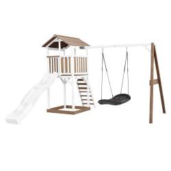 Beach Tower Speeltoren met Roxy Nestschommel Bruin/wit - Witte Glijbaan