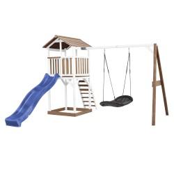 Beach Tower Speeltoren met Roxy Nestschommel Bruin/wit - Blauwe Glijbaan