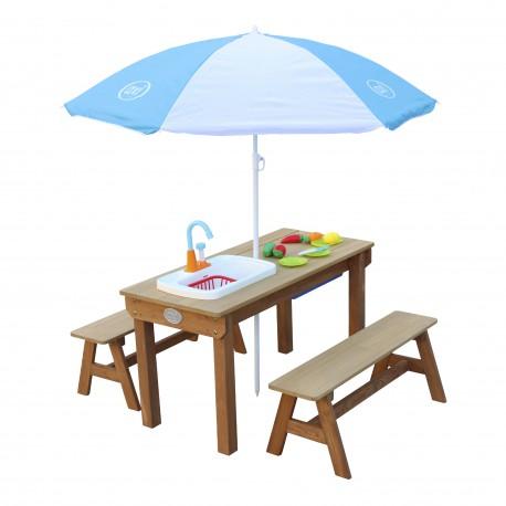Dennis Zand & Water Picknicktafel met Speelkeuken wastafel en losse bankjes Bruin - Parasol Blauw/wit